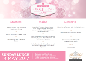 Sunday Lunch Menu 14 May 2017 - Mothers Day