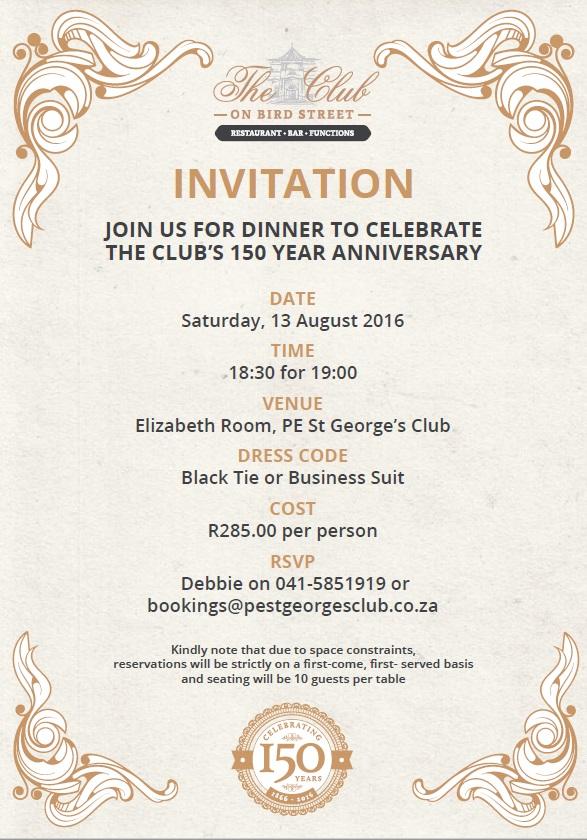 150th Anniversary Celebration Members Black Tie Dinner