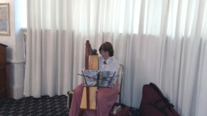 Glenys Bannister, the High Tea harpist.