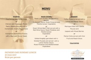 Fathers Day Menu - 18 JUNE 2017