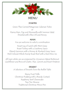Proposed Menu for Christmas Day Lunch 2017