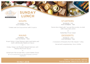 Sunday Lunch Menu - 19 May 2019